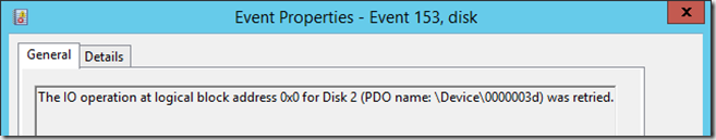 The IO operation at logical block address 0x0 for Disk 2 (PDO name: \Device000003d) was retried.